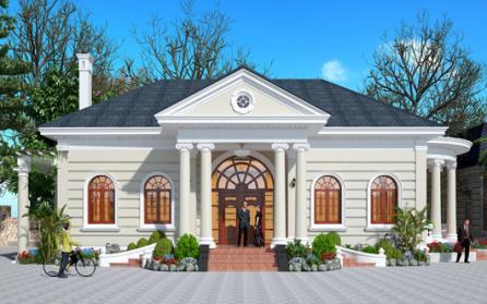 Biệt thự vườn 1 tầng được thiết kế theo phong cách tân cổ điển Pháp