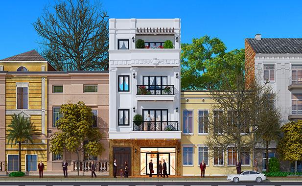 Thiết kế nhà phố tân cổ điển 4 tầng diện tích 80m2 tại Hà Nội