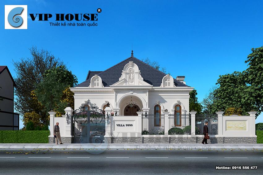 Thiết kế biệt thự Pháp 1 tầng diện tích 280m2 có gara đẹp