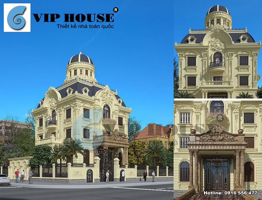 Công trình biệt thự 3 tầng 2 mặt tiền kiến trúc châu Âu