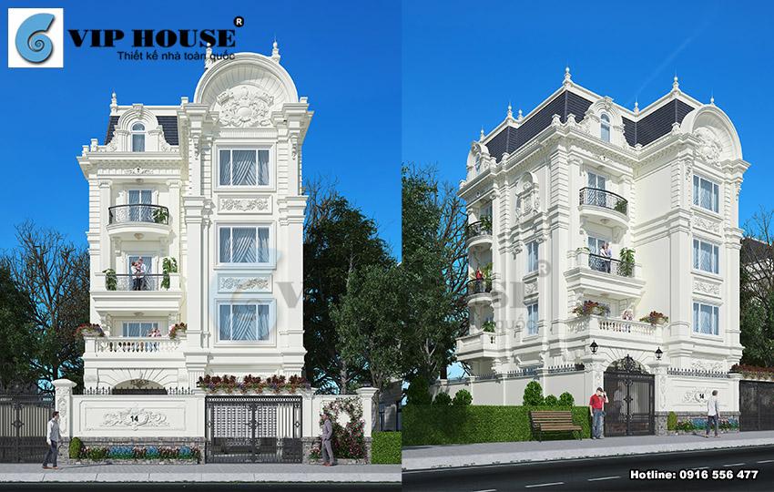 Mẫu nhà biệt thự tân cổ điển Pháp 4 tầng đẹp hoàn mỹ tại Nam Định