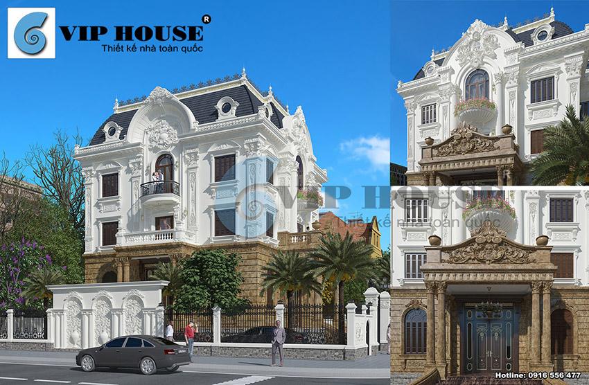 Mẫu thiết kế biệt thự tân cổ điển kiểu Pháp 3 tầng đẹp hút mắt
