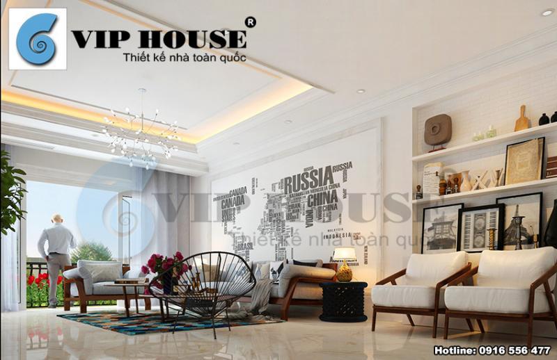 Nội thất phòng khách tân cổ điển đẹp sang trọng cho biệt thự kiểu Pháp