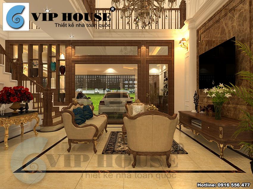 Không gian nội thất phòng khách tân cổ điển đẹp tinh tế cho biệt thự