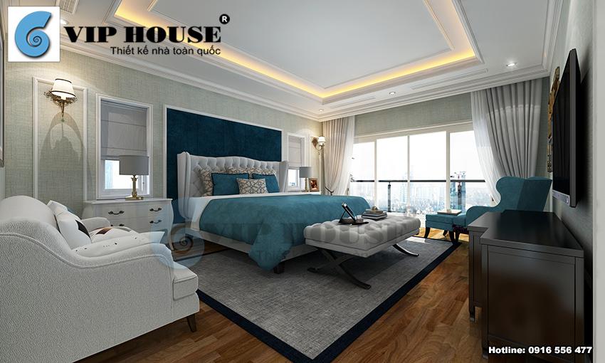 Nội thất phòng ngủ master phong cách tân cổ điển đẹp sang trọng