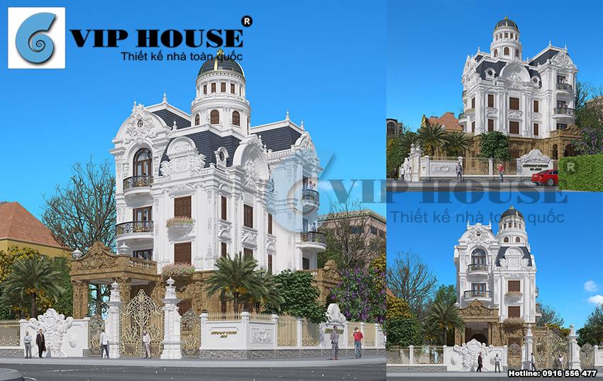 Thiết kế biệt thự kiểu Pháp 2 mặt tiền trên diện tích 700m2 tại Nam Định