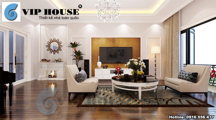 Mẫu thiết kế nội thất tân cổ điển phòng khách biệt thự phố