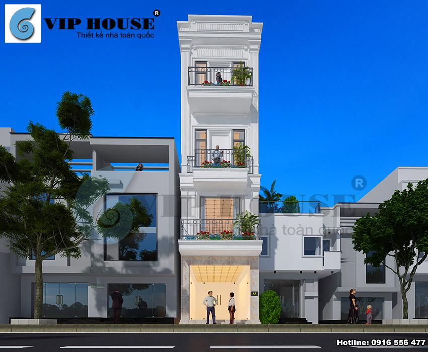 Thiết kế nhà phố hiện đại 4 tầng mặt tiền 5m