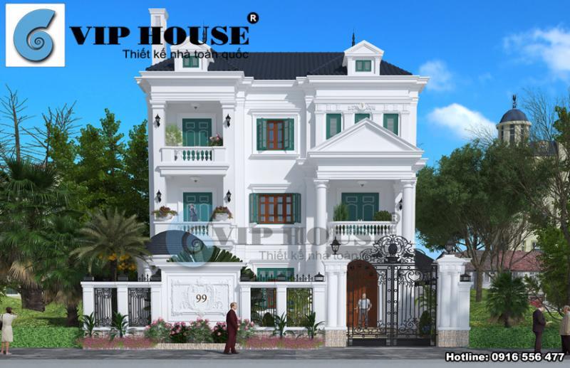 Thiết kế biệt thự đẹp kiến trúc Pháp 3 tầng tại Ninh Bình