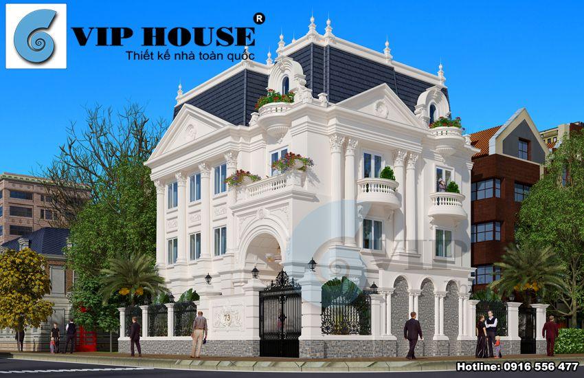 Hình ảnh: Biệt thự kiểu Pháp phong cách tân cổ điển kiến trúc 3 tầng 2 mặt tiền