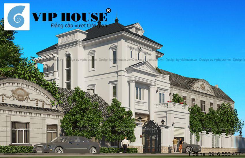 Hình ảnh: Mẫu thiết kế biệt thự 3 tầng kiểu Pháp tân cổ điển màu trắng ấn tượng