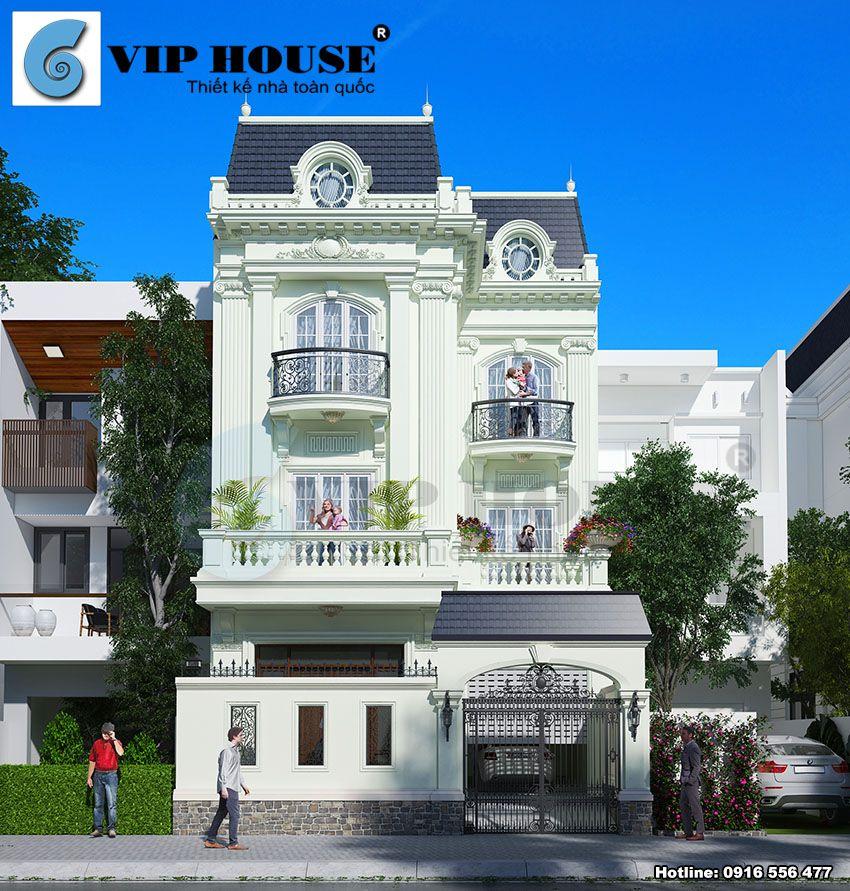 Hình ảnh: Thiết kế biệt thự phố 3 tầng kiến trúc Pháp tân cổ điển diện tích 120m2/sàn