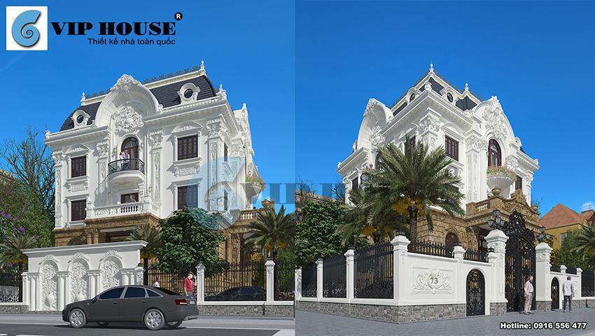 Đẹp tinh khôi với mẫu thiết kế biệt thự tân cổ điển 3 tầng