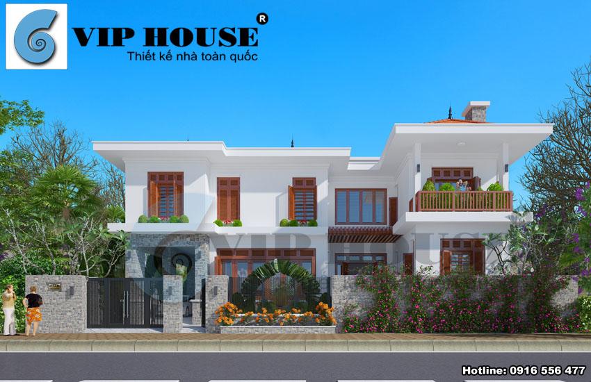 Thiết kế biệt thự hiện đại 2 tầng kết hợp kiến trúc truyền thống Á Đông