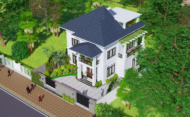 Biệt thự nhà vườn xanh mát kiến trúc Pháp 2 tầng tại Bắc Ninh