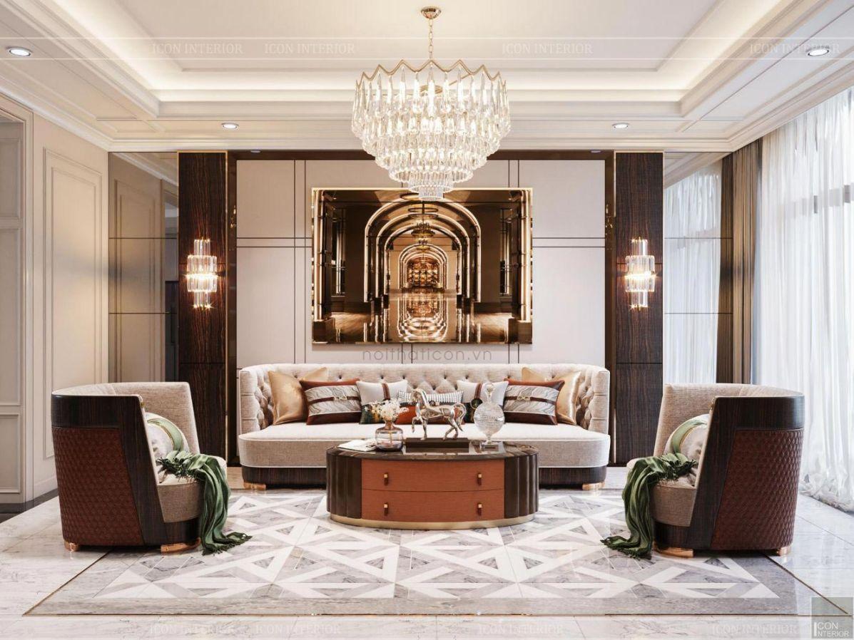 Thiết kế nội thát biệt thự 2 tầng phong cacsh Tân cổ điển cuốn hút