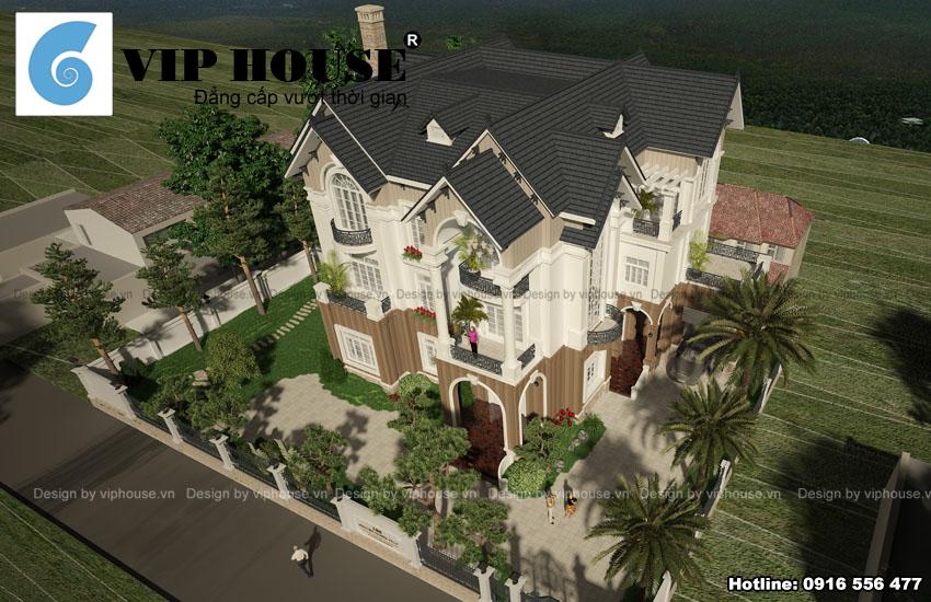 Chiêm ngưỡng thiết kế biệt thự kiểu Pháp mái kép tại Thái Nguyên
