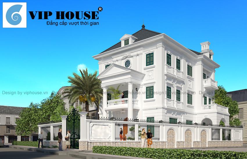 Thiết kế biệt thự kiểu Pháp 3 tầng đẳng cấp tại Hồ Tây - Hà Nội