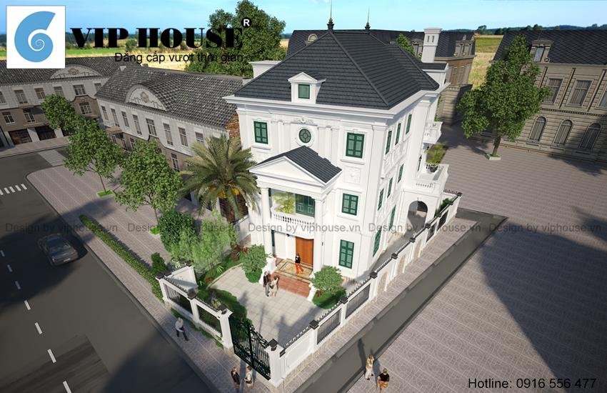 Thiết kế biệt thự kiểu Pháp đẹp cuốn hút tại Hồ Tây - Hà Nội