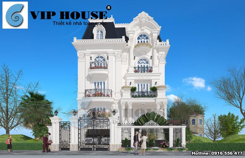 Thiết kế biệt thự kiểu Pháp đẹp kiểu cổ điển tại Hải Phòng