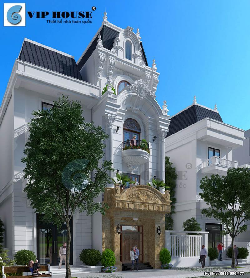 Cách thiết kế biệt thự kiểu Pháp 4 tầng đẹp mãn nhãn của kts Vip House