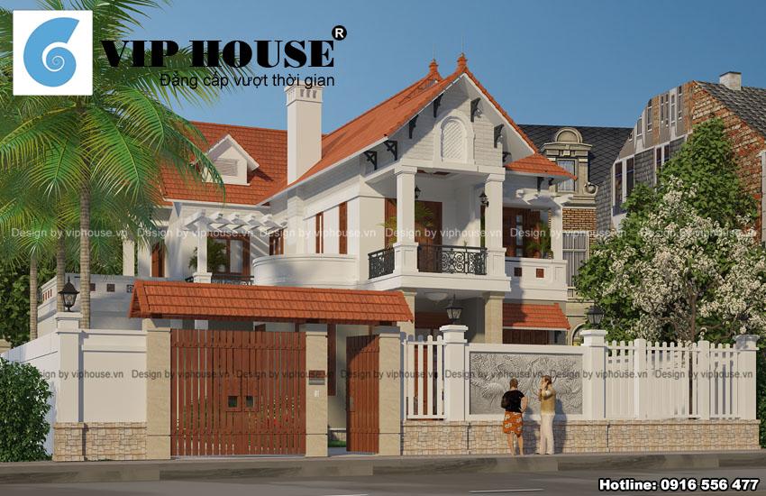 Thiết kế biệt thự hiện đại 2 tầng mái ngói đỏ tươi