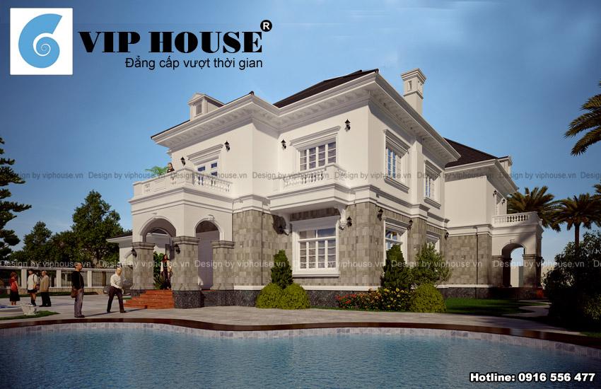 Thiết kế biệt thự kiểu Pháp 2 tầng tại Quảng Ninh