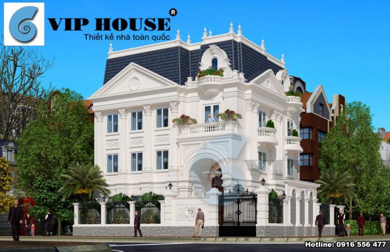 Tham khảo thiết kế biệt thự kiểu Pháp 2 mặt tiền đẹp tại Hòa Bình