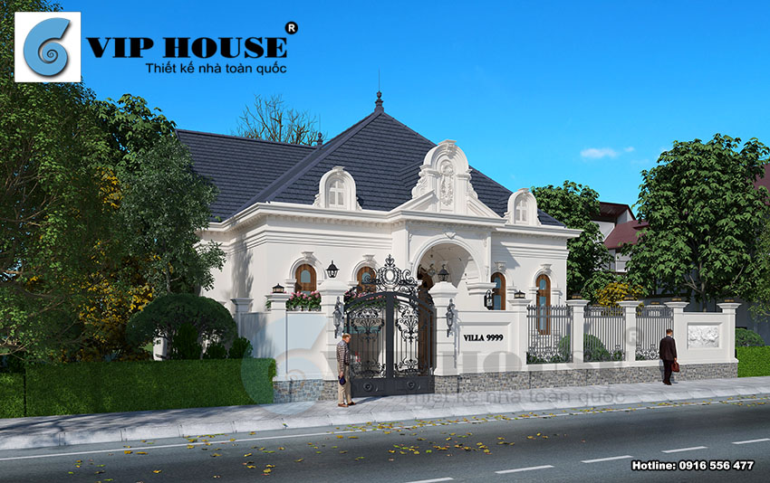 Bộ sưu tập thiết kế biệt thự kiểu Pháp 1 tầng đẹp từ Vip House