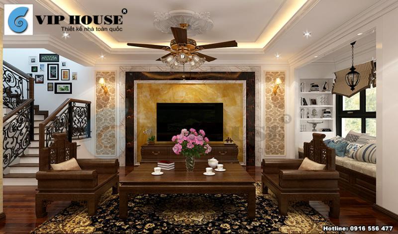 Thiết kế nội thất phòng khách với đồ gỗ chủ đạo