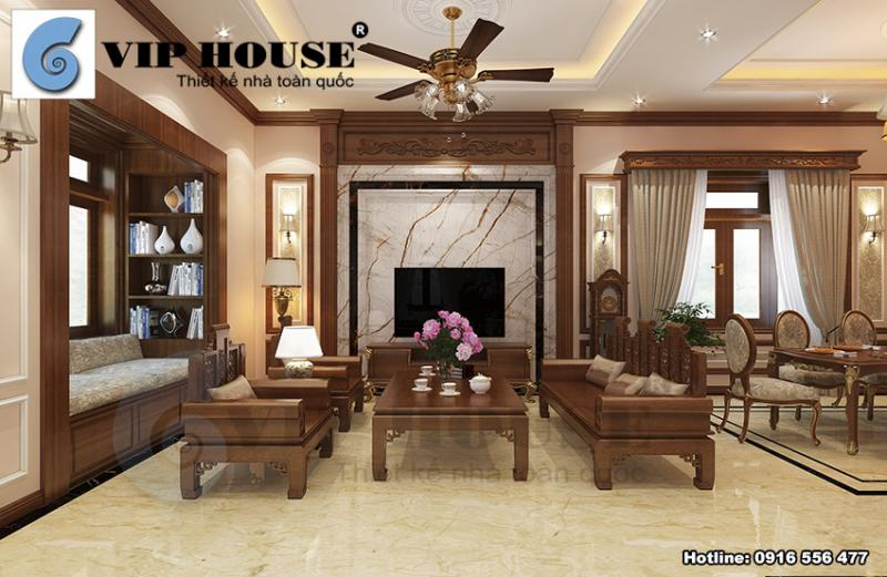 Say đắm với nội thất tân cổ điển phòng khách bếp ấn tượng