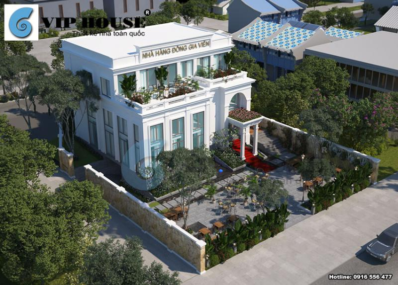 Phương án thiết kế ngoại thất nhà hàng Đồng Gia Viên sang trọng tại Quy Nhơn