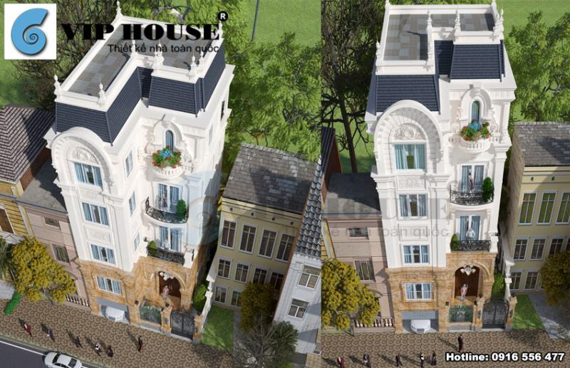 Tư vấn thiết kế biệt thự Pháp mini 4 tầng đẹp tại Hà Nội