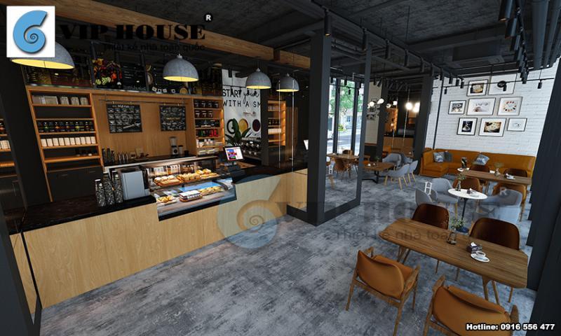 Thiết kế nội thất quán cafe hiện đại 2 tầng tại Hà Nội