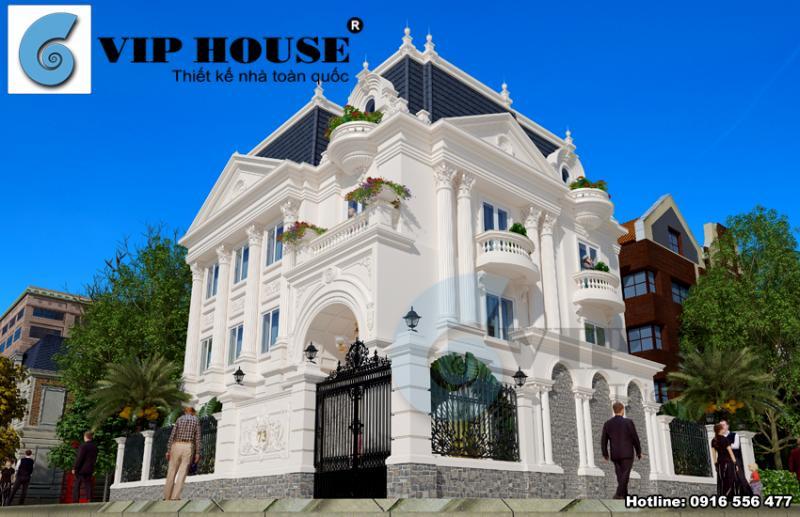 Mẫu thiết kế biệt thự kiểu Pháp 3 tầng cuốn hút tại Hòa Bình