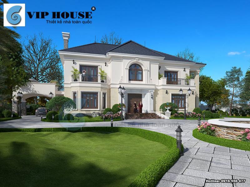 Thiết kế biệt thự đẹp 2 tầng với phong cách tân cổ điển