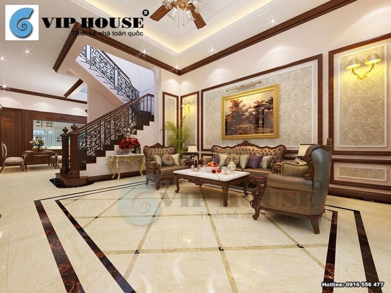 Thiết kế nội thất phòng khách bếp cổ điển nhà phố Vĩnh Phúc