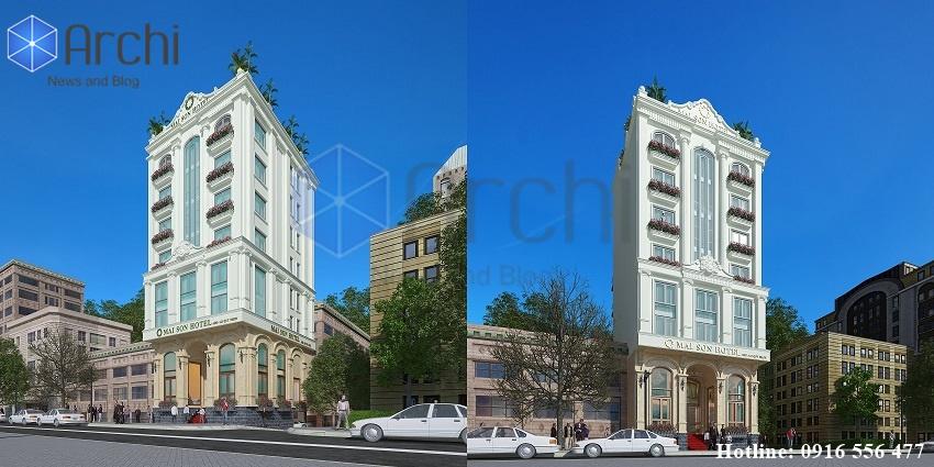 Thiết kế khách sạn tân cổ điển 2 mặt tiền 9 tầng tại Quy Nhơn