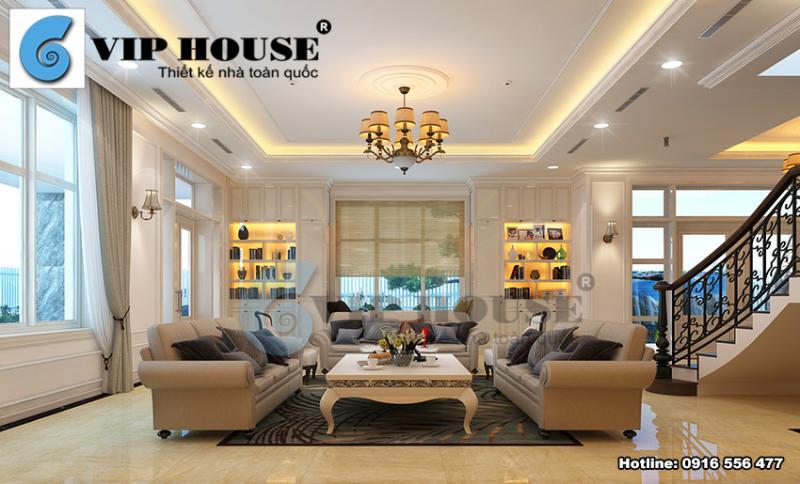 Thiết kế phòng khách tân cổ điển sang trọng biệt thự Ciputra
