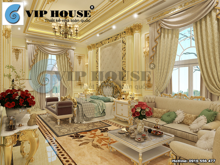Phong thái hoàng gia với thiết kế nội thất phòng ngủ tân cổ điển Pháp