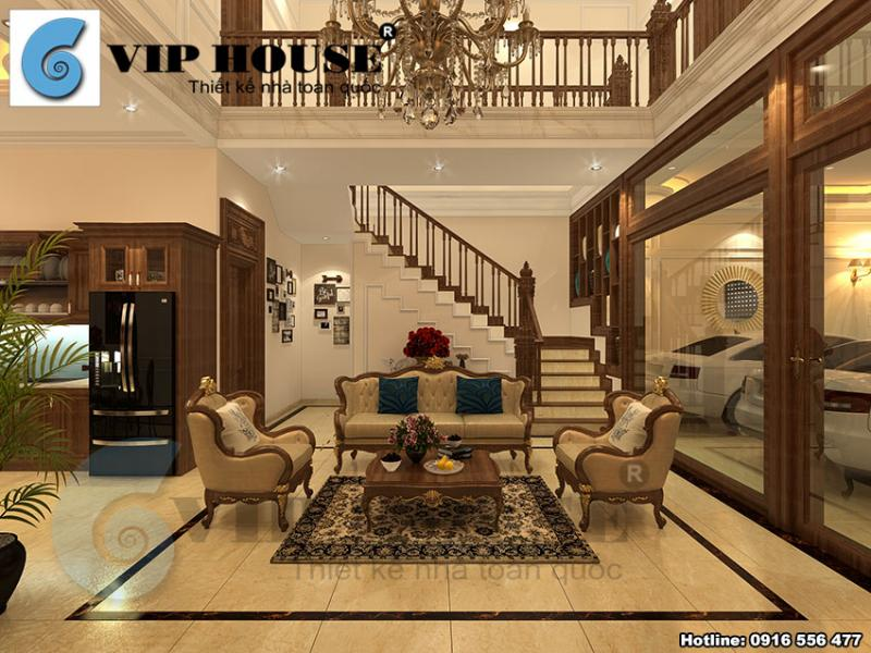 Thiết kế nội thất phòng khách kiểu Pháp đẹp mãn nhãn